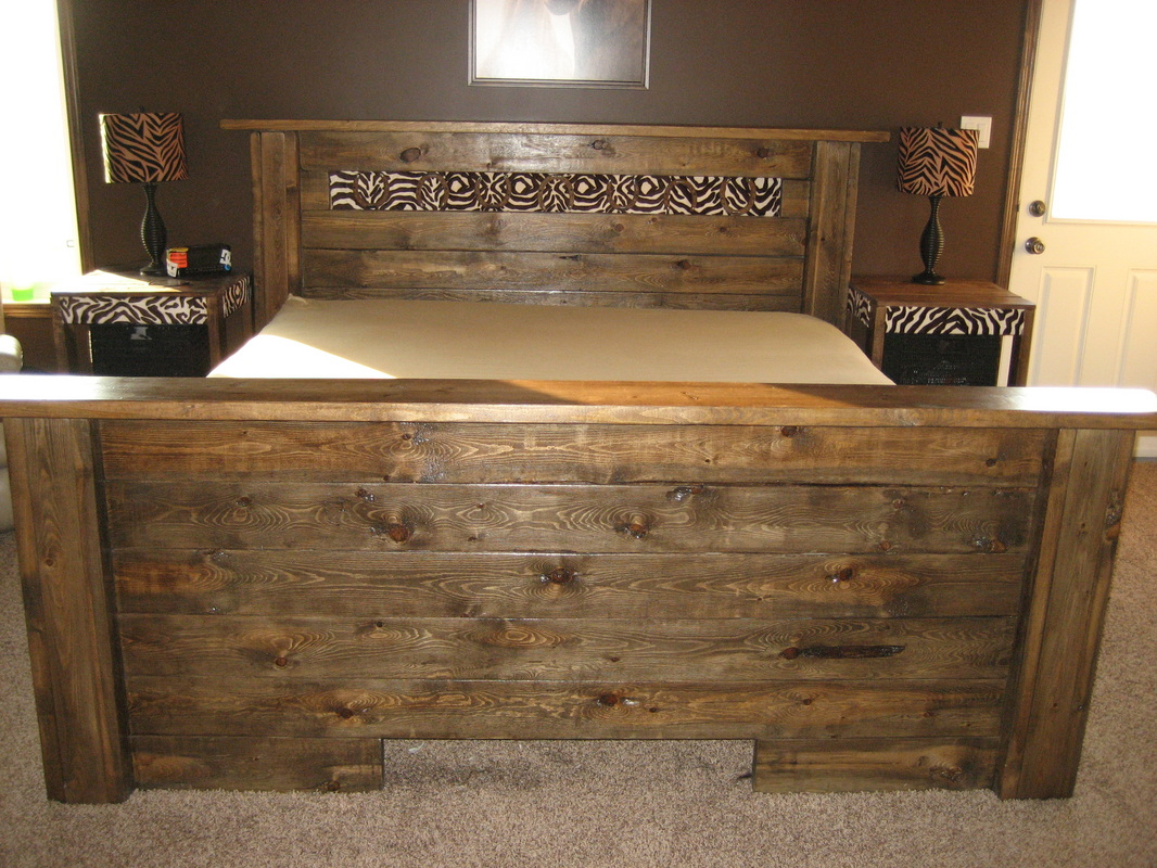 above is a rustic looking queen size bed frame for sale price 800 will also build something different for a queen size bed to your likening
